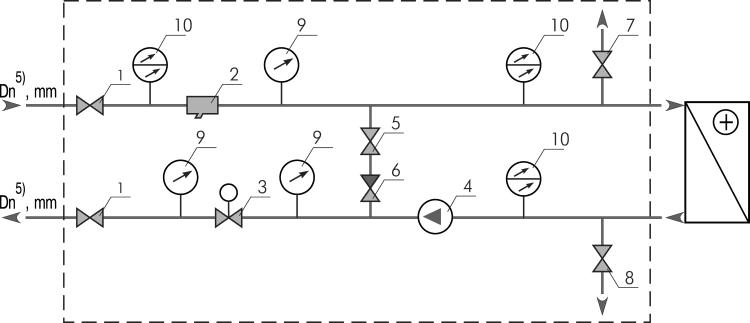 Схема с насосом и двухходовым